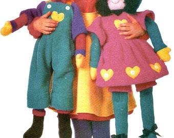 Vogue 9690 Fleece Kids Dressed Boy and Girl Doll Pattern Designer Linda Carr 27 Inch  Toy Sewing Pattern UNCUT