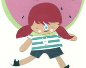 Pink Cheeks Print ---  Watermelon Girl --- Nursery Art --- Children's Art