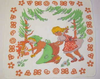 Vintage Hankie Gretel Pushes the Witch in the Oven