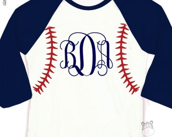 Baseball seam traditional monogram personalized raglan shirt - adorable custom monogrammed shirt