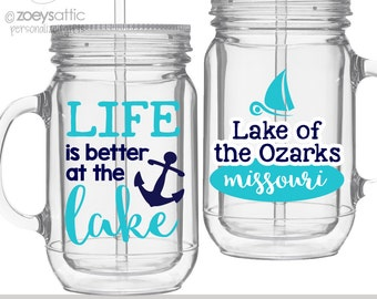 Vacation tumbler - lake themed sailboat and anchor mason jar clear acrylic tumbler - BPA free