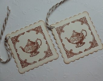 Tea party favor tags, hand stamped, vintage style,  victorian teapot, scalloped gift tags, bridal or baby shower - set of 12