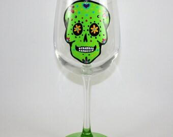 Sugar Skull / GREEN / Day of The Dead / Dia De Los Muertos, READY to SHIP