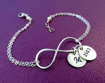 Graduation gift, Personalized Infinity bracelet, Initial bracelet, Class of 2015, Good luck, sterling silver, otis b jewelry, briguysgirls