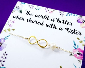 Infinity bracelet, Sister gifts, Friendship bracelet, Sorority sisters, Bridesmaid gift, Sister card, pearl bracelet,college graduation