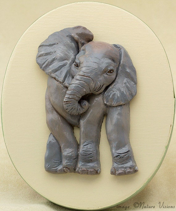 Baby elephant art polymer clay african sculpture on