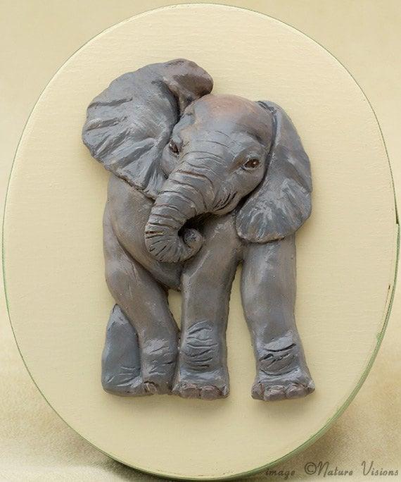 Baby Elephant Art Polymer Clay African Elephant Sculpture on