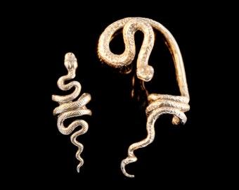 EAR CUFF SPECIAL Snake Ear Cuff Combo - Buy 2 Get 1 Ear Cuff Free - Snake Jewelry Serpent Jewelry - Bronze Snake Snake Ear Wrap - Cool Snake
