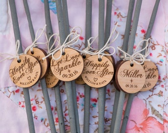 Wedding Sparkler Tags Wooden Rustic