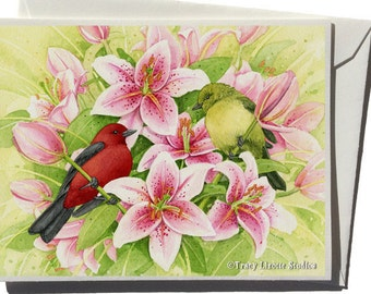 Scarlet Tanager Among the Lilies Greeting Card by Tracy Lizotte