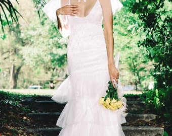 Zelda, Gatsby Wedding Dress, Lace Tank Dress with mermaid tulle skirt and bridal caplet