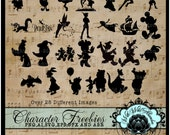 Disney Silouettes,Cutting Files, Disney Clipart, Winnie the Pooh, Peter Pan, Mickey Mouse, svg,ai,eps Cutting File, png