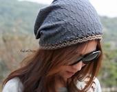 Slouchy hat, crochet hat, slouchy beanie, reversible hat - KB180