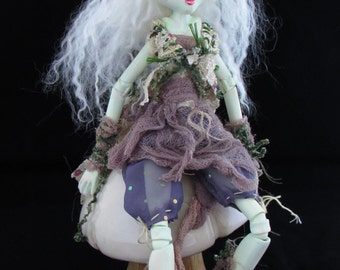 ENOCK A TROLL, On Sale hand sculpted paper clay ball jointed Art doll, made in the USA