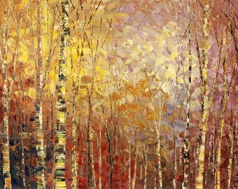 Forest Painting Palette Knife Abstract Landscape Art Handmade Original Wall Decor Birch Aspen Trees - by Tatiana Iliina - Made to order