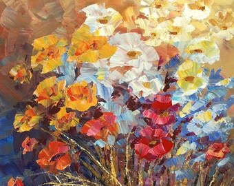 Flower Painting Palette Knife Original Art Handmade Field Meadow Wall Decor red yellow  blue - by Tatiana Iliina - Made to order