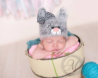 baby kitten hat .. newborn photo prop .. cat .. newborn photography .. kitty .. girl hat .. fuzzy baby hat .. 3 6 12 month .. removable bow