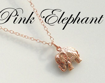 Pink Elephant Necklace, Pink Gold, Rose Gold Elephant  on 14k Rose Gold Filled Chain, Lucky Jewelry, Graduation, Graduate, Promotion, Gift