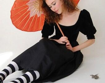 Black Velvet Dress Vintage 80s Lush Black Velvet CONTEMPO CASUALS Indie Boho Party Dress (xs s)
