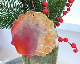 Shell Christmas Decoration Hammered Copper Nautical Xmas Ornament Rustic Primitive Colorful Metal Festive Holiday Decor. Home Decor