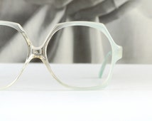 French Mint Green Ombre Oversized Sun/eyeglasses Pastel Fade to Clear Hexagon Womens Indie 1970s Optical Frame France