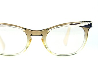 American Optical  Cat Eye Sun/Eyeglasses Brown Fade Aluminum Browline  Optical Frame  46/22