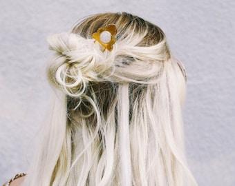 Atlas Hair Pin // hair accessories, bridal jewelry, hair piece, hair fork, moonstone, silver, brass