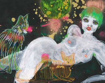 Cosmic Cat Lady / ORIGINAL or PRINTS / Painting / Nude / Woman / Cats / Cat art / Lesbian / Queer Art