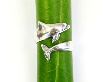 Dolphin Ring Silver Dolphin Wrap Ring Bottlenose Dolphin Jewelry 464 new