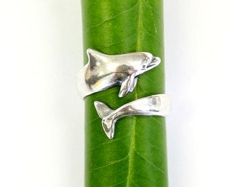 Dolphin Ring Silver Dolphin Wrap Ring Bottlenose Dolphin Jewelry 464