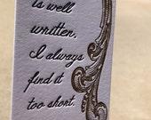 Letterpress Bookmark - Jane Austen Quote