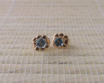 Sky Blue Topaz Stud Gold Fill Earrings December Birthstone 3mm