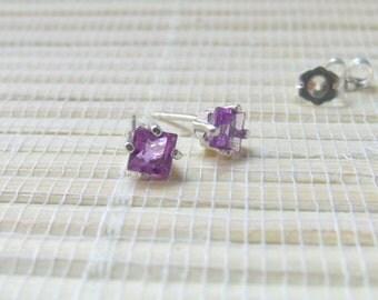 Brazilian Amethyst Princess Stud Earrings Sterling Silver February Birthstone 4mm