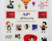 Cute Girl & Dog Norway Themed Plastic Stickers From Korea - Hot Air Balloon, Flowers, Stamps, Traditional Costume, Bunting, Flag, Books