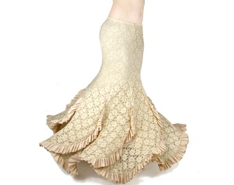 Sirena Skirt Cream Lace Mermaid Skirt