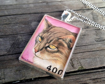 Vintage Cat Postage Stamp Necklace