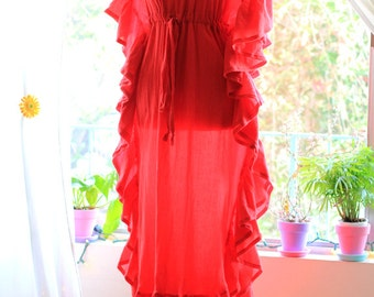 Maxi Kaftan with Ruffles - Beach Cover Up Dress - Caftan in Red Cotton Gauze - 20 Colors
