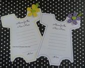 Kit Baby Shower Onesie Game--Yellow and Purple  Advice For the New Mom  Party Game