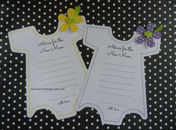 Kit Baby Shower Onesie Game / Onesie with Flower / Advice For the New Mom /Baby Shower Party Game / Keepsake / Yellow or Purple