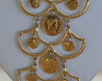 Pretty Vintage Napoleon Coin Pendant Necklace, Adjustable (AG3)