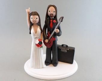 Cake Topper Custom Handmade Bride & Groom with a Guitar