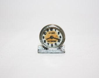 Vintage Dollhouse Miniature clock, little silver alarm clock looks handmade