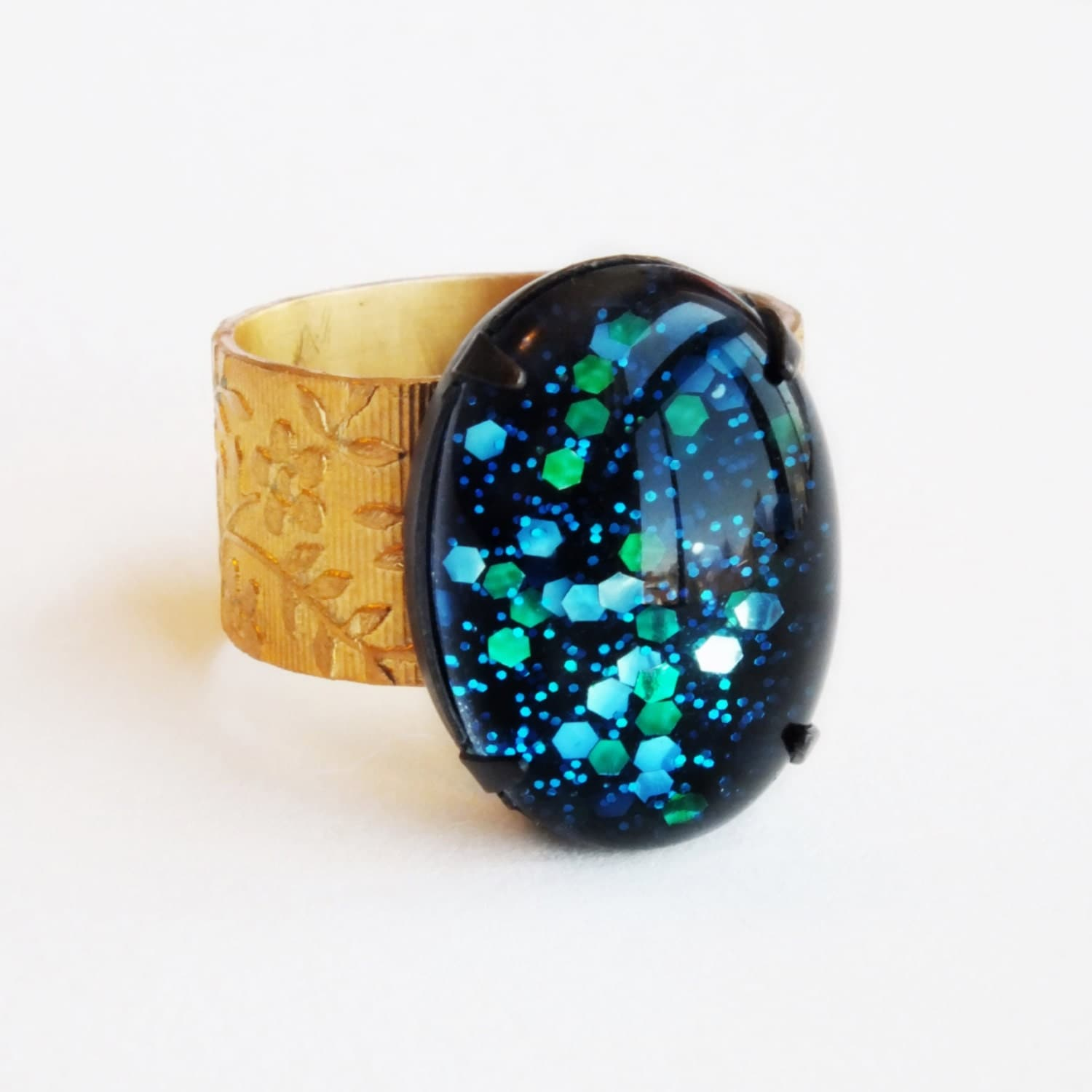 Nail Polish Ring Blue Green Glitter Ring Cosmic Vintage Domed
