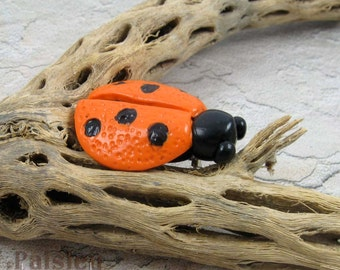 Orange Ladybug Brooch, whimsical polymer clay beetle pin, insect jewelry