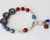 Blue and Red Hand Knotted Bracelet