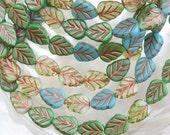 10x8mm Opaque Transparent Blue and Green Copper Wash Mix Czech Glass Birch Leaf Beads - Qty 20 (AW204)
