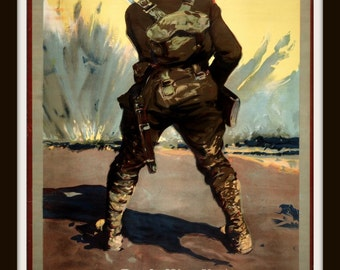 """1900s WWI Canadian Patriotic Poster """"Back Him Up - Buy Victory Bonds""""  Giclee Art Print"""