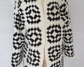 Cardigan, Sweater Coat, Black & Off White Granny Squares from 70s - Size M-L