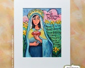 Immaculate Heart of Mary Catholic Wall Art Print, Painted Prayer, Novena to Blessed Mother.