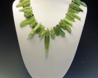 Green Kyanite Necklace   Kyanite Dagger Necklace   Statement Necklace   Mothers Day Gift